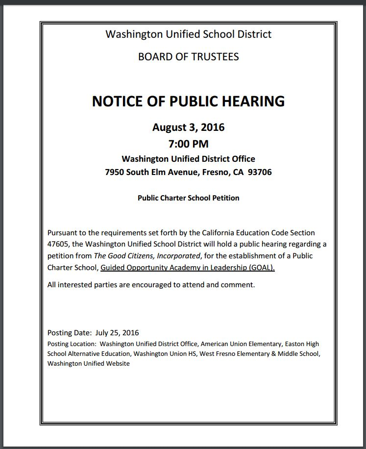 Notice of Public Hearing – August 3, 2016 Public Charter School Petition