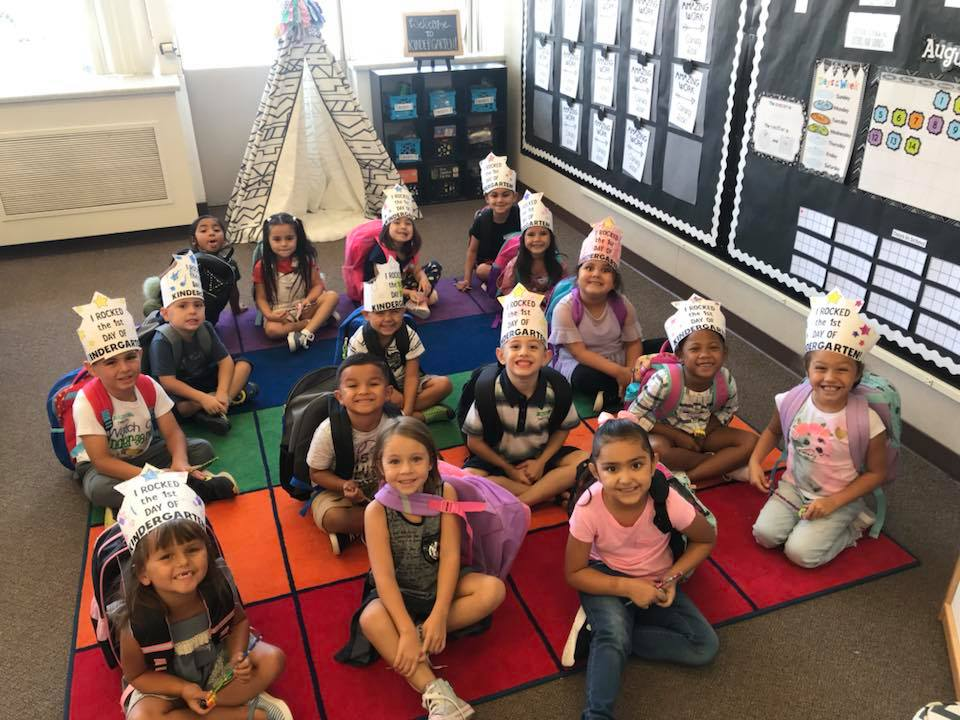 American Union Kindergarten students on the first day of school.