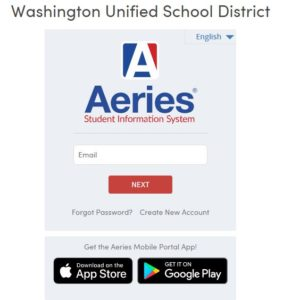This image shows the login page for the Aeries Parent POrtal